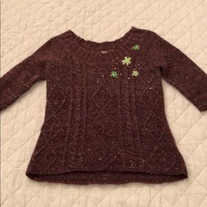 Free People sweater with flowers and rhinestones
